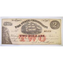1864 STATE OF MISSISSIPPI $2.00 NOTE