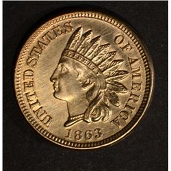 1863 INDIAN HEAD CENT, CH BU cleaned