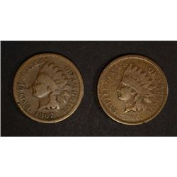 1866 VG  & 1867 GOOD INDIAN CENTS