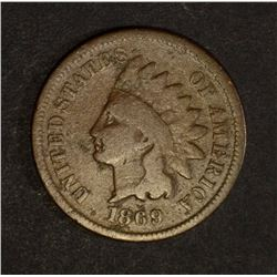1869/9 INDIAN HEAD CENT, VG