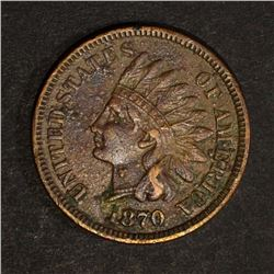 1870 INDIAN HEAD CENT, XF porosity KEY DATE