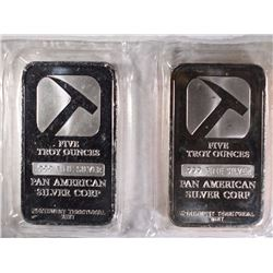 2-FIVE OUNCE .999 SILVER BARS-PAM AM SILVER CORP