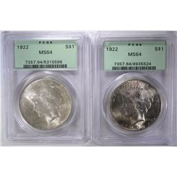 2- 1922 PEACE DOLLARS, PCGS MS64 OLD GREEN HOLDERS