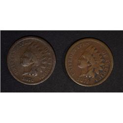 1874 VG & 1876 G INDIAN CENTS