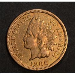1908-S INDIAN HEAD CENT, FINE KEY DATE cleaned