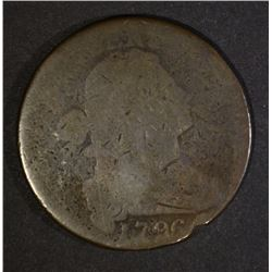 1796 DRAPED BUST LARGE CENT, AG KEY DATE