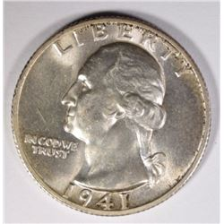1941-S WASHINGTON QUARTER, GEM BU