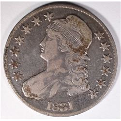 1831 CAPPED BUST HALF DOLLAR, VF