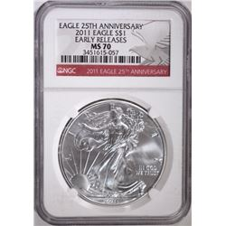 2011 25th ANNIVERSARY SILVER EAGLE NGC MS-70