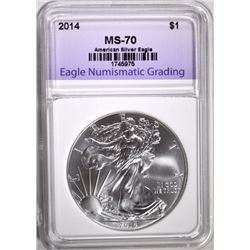 2014 AMERICAN SILVER EAGLE ENG PERFECT GEM BU