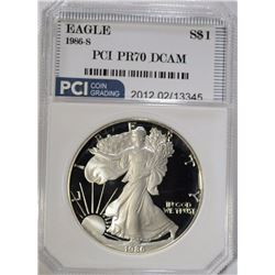 1986-S AMERICAN SILVER EAGLE PCI PERFECT PROOF