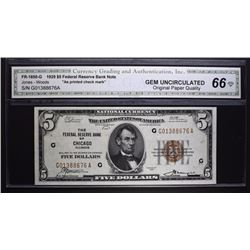 1929 $5 FEDERAL RESERVE BANK NOTE CGA 66-OPQ