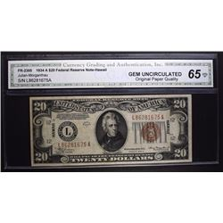 1934 A $20 FEDERAL RESERVE NOTE CGA 65-OPQ