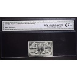 1863 3 CENT FRACTIONAL CURRENCY CGA 67-OPQ
