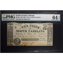 1861 TWO DOLLARS STATE OF NORTH CAROLINA PMG 64EPQ
