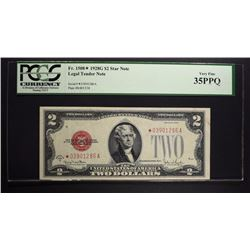 1928 G $2 LEGAL TENDER STAR NOTE PCGS 35PPQ