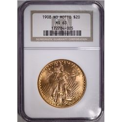 1908 NO MOTTO $20 ST. GAUDENS GOLD NGC MS 63