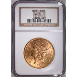 1893 $20 GOLD LIBERTY NGC MS 61