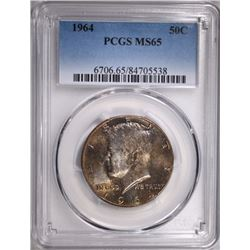1964 KENNEDY HALF DOLLAR PCGS MS65