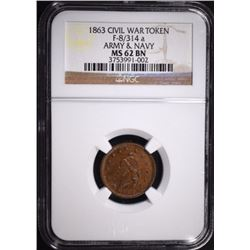 "1863 CIVIL WAR TOKEN ""ARMY & NAVY"""