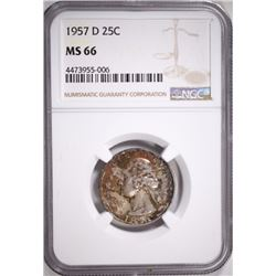 1957-D WASHINGTON QUARTER NGC MS 66