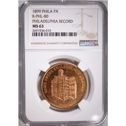 1899 SC$ PHILADELPHIA RECORD NGC MS 63