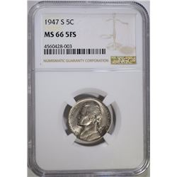 1947-S JEFFERSON NICKEL NGC MS 66 5FS