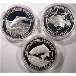 3 - SILVER 1 oz NORTH AMERICAN FISHING CLUB