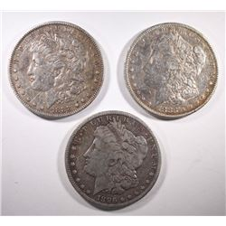 1883, 1896-S, 1888 MORGAN DOLLARS
