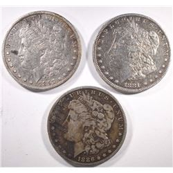 1881-O, 1886-O, 1897-O MORGAN DOLLARS