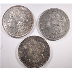 1879-S, 1881, 1921-D MORGAN DOLLARS