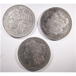 1885-O, 1890-O, 1896-O MORGAN DOLLARS