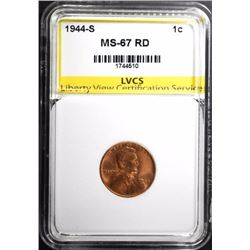 1944-S LINCOLN CENT LVCS SUPERB GEM BU RED