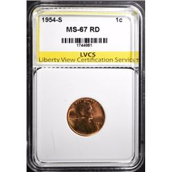 1954-S LINCOLN CENT LVCS SUPERB GEM BU RED