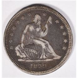 1839 NO DRAPERY SEATED QUARTER VF
