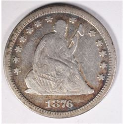 1876-CC SEATED QUARTER NICE VG