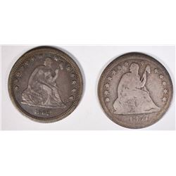 2 SEATED QUARTERS: 1862 QUARTER VF+ &