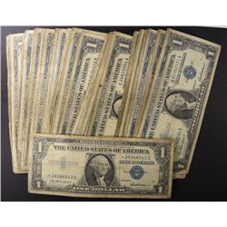 76 - $1.00 SILVER CERTIFICATES - ROUGH CIRCS