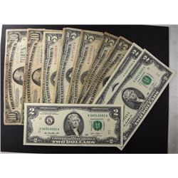 $5 SILVER CERT, 4- $5 RED SEAL NOTES,