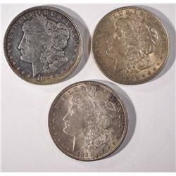3 - 1921 MORGAN DOLLARS