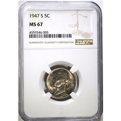 1947-S JEFFERSON NICKEL NGC MS 67