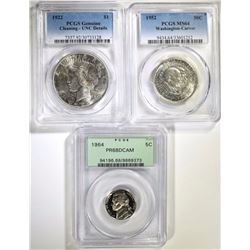 PCGS GRADED LOT: NICKEL, HALF DOLLAR, DOLLAR