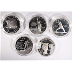 5- SILVER PROOF COMMEM. DOLLARS