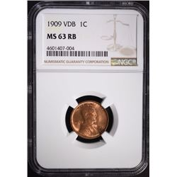 1909 VDB LINCOLN CENT NGC MS63 RB