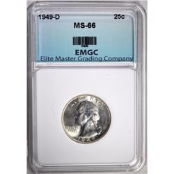 1949-D WASHINGTON QUARTER, EMGC SUPERB GEM BU
