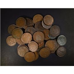 (50) MIXED AVERAGE CIRC CANDIAN LARGE CENTS