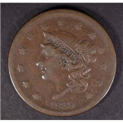 "1839 ""BOOBY HEAD"" LARGE CENT, VF"