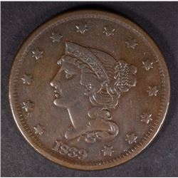 1839 BRAIDED HAIR LARGE CENT, XF SCARCE