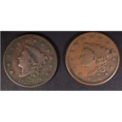 1835 & 1836 LARGE CENTS BOTH VF