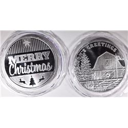 2-ONE OUNCE .999 SILVER HOLIDAY ROUNDS
